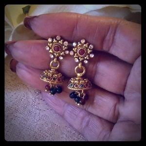 Vintage Jeweled Jhumka Earrings